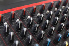 Part of control an audio sound mixer Stock Photos
