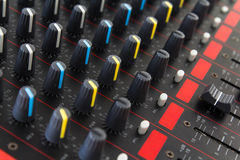 Part of control an audio sound mixer Royalty Free Stock Photo