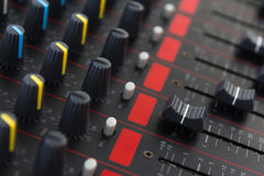 Part of control an audio sound mixer Royalty Free Stock Photography