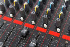 Part of control an audio sound mixer Stock Image