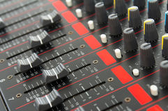 Part of control an audio sound mixer Royalty Free Stock Image