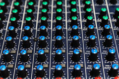 Part of control an audio sound mixer Royalty Free Stock Photos