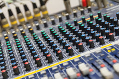 Part of control an audio sound mixer Royalty Free Stock Images