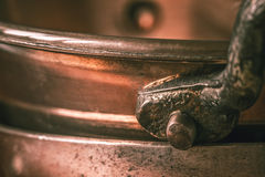 Part of the copper pots stock photo