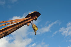 Part of crane with pulley and hook Stock Image