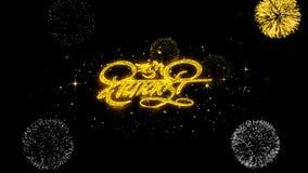 Part?culas de oro del centelleo del texto del diwali feliz del diwali de Shubh con la exhibici?n de oro de los fuegos artificiale ilustración del vector
