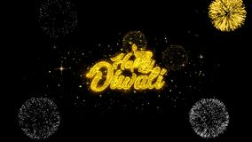 Part?culas de oro del centelleo del texto del diwali feliz de Shubh con la exhibici?n de oro de los fuegos artificiales