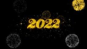 Part?culas de oro del centelleo del texto de la Feliz A?o Nuevo 2022 con la exhibici?n de oro de los fuegos artificiales stock de ilustración