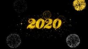 Part?culas de oro del centelleo del texto de la Feliz A?o Nuevo 2020 con la exhibici?n de oro de los fuegos artificiales stock de ilustración
