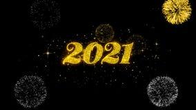 Part?culas de oro del centelleo del texto de la Feliz A?o Nuevo 2021 con la exhibici?n de oro de los fuegos artificiales libre illustration