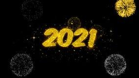 2021 part?culas de oro del centelleo del texto de la Feliz A?o Nuevo con la exhibici?n de oro de los fuegos artificiales ilustración del vector