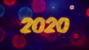 2020 part?culas de saludo de la chispa del texto de la Feliz A?o Nuevo en los fuegos artificiales coloreados