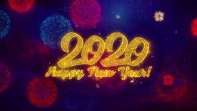 Part?culas de saludo de la chispa del texto de la Feliz A?o Nuevo 2020 en los fuegos artificiales coloreados