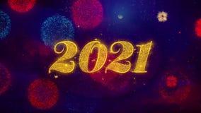 Part?culas de saludo de la chispa del texto de la Feliz A?o Nuevo 2021 en los fuegos artificiales coloreados libre illustration