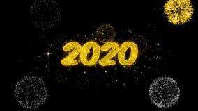 2020 part?culas douradas piscar do texto do ano novo feliz com exposi??o dourada dos fogos de artif?cio