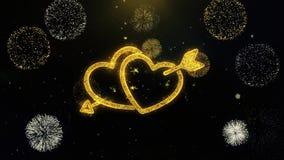 Part?culas escritas coraz?n del oro del amor del d?a de tarjeta del d?a de San Valent?n que estallan la exhibici?n de los fuegos  stock de ilustración