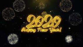 Part?culas escritas del oro de la Feliz A?o Nuevo 2020 que estallan la exhibici?n de los fuegos artificiales