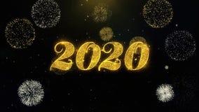 Part?culas escritas del oro de la Feliz A?o Nuevo 2020 que estallan la exhibici?n de los fuegos artificiales libre illustration