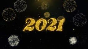 Part?culas escritas del oro de la Feliz A?o Nuevo 2021 que estallan la exhibici?n de los fuegos artificiales