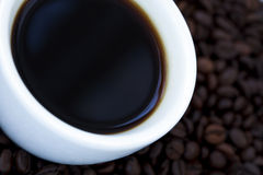 Black Coffee and Beans Stock Photo