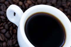 Black Coffee and Beans Royalty Free Stock Photo