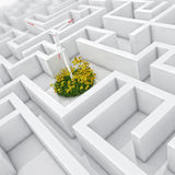 Part of 3d labyrinth with pure lightWhite labyrinth, problem solved, wind turbine with grass and flowers in abstract maze Royalty Free Stock Image