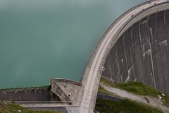 Part of dam wall. Geometrical composed shot of dam wal Royalty Free Stock Photos