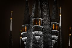 Part of a dark castle. Part of some dark castle at night stock photos