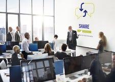 Part de communication partageant le concept de connexion Photographie stock