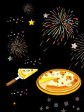 Part de la pizza étant retirée de la pizza entière Photos libres de droits
