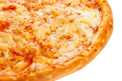 Part of delicious classic Hawaiian Pizza with chicken, pineapple, oregano and cheese Royalty Free Stock Image