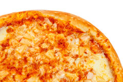 Part of delicious classic Hawaiian Pizza with chicken, pineapple, oregano and cheese Royalty Free Stock Photography