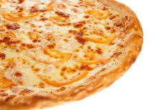 Part of delicious classic italian Pizza with Garlic sauce, shrimp and cheese Royalty Free Stock Image