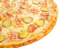 Part of delicious classic italian pizza with ham, sausages, corn, cucumbers and cheese Royalty Free Stock Photo