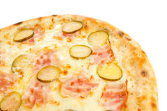 Part of delicious classic italian pizza with ham, sausages, corn, cucumbers and cheese Stock Images