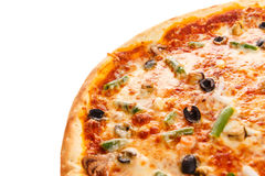 Part of delicious classic italian Seafood Pizza Royalty Free Stock Photography