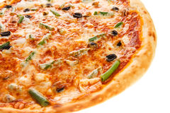 Part of delicious classic italian Seafood Pizza Royalty Free Stock Photos