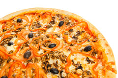 Part of delicious italian pizza with seafood Royalty Free Stock Images