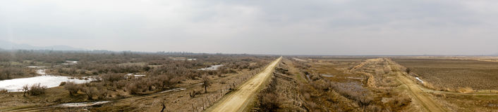 Part of the delta of river Evros, Greece, panoramic view Stock Images