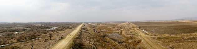 Part of the delta of river Evros, Greece, panoramic view Royalty Free Stock Photography