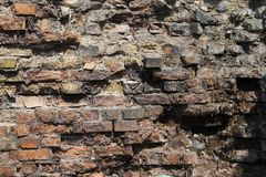 Part of the destroyed brick wall close-up Royalty Free Stock Photography