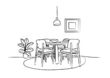 Dining room hand drawn sketch. interior design vector illustration. Part of the dining room. Table and chairs.On the table vase of flowers. Lamps hang over the Vector Illustration