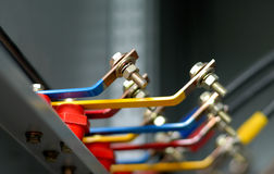 Part of distribution panel. Copper busbar and part of an distribution panel royalty free stock images