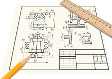 Part drawing. On a piece of paper. Pencil, ruler Royalty Free Stock Photography