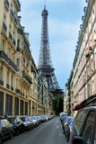 The part of Eiffel Tower on the street. Eiffel Tower on the street in Paris, France Stock Photo