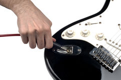 Part of  Electric Guitar. Plugin jack  on isolated white background Stock Photography