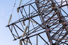 Part of the electric tower stock photo