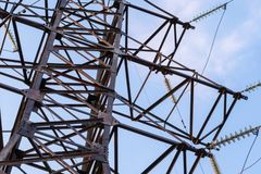 Part of the electric tower royalty free stock photography