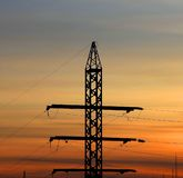 Part of the electricity pylon, sunset. Stock Photography
