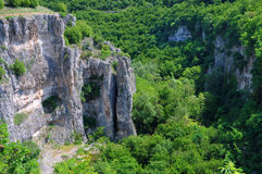 Part of the Emen Canyon. View of the overgrown portion of the Emen canyon in Veliko Tarnovo region in Bulgaria Royalty Free Stock Image